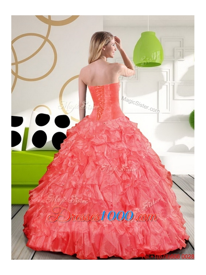 New Style Sweetheart Beading and Ruffles Quinceanera Dress for 2015