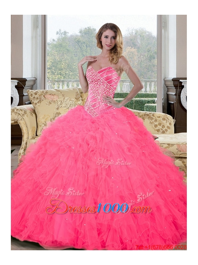 New Style Sweetheart Beading and Ruffles Quinceanera Gown for 2015