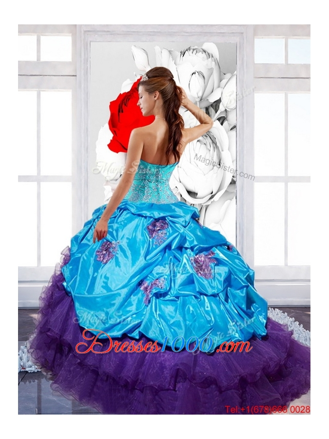 New Style Sweetheart Ruffles Quinceanera Dresses with Appliques and Pick Ups