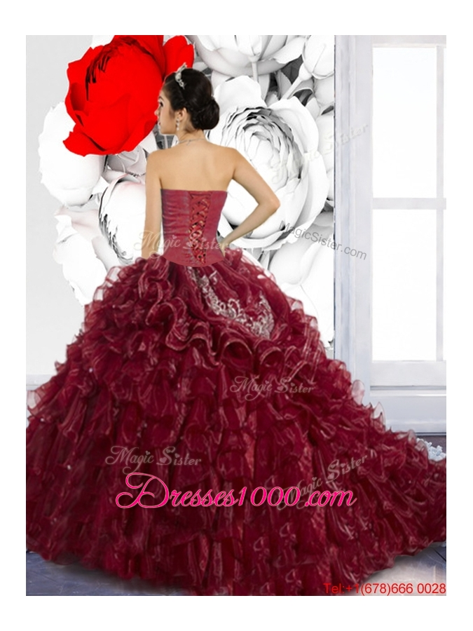 Wonderful Sweetheart Ruffles and Appliques Sweet Fifteen Dresses for 2015