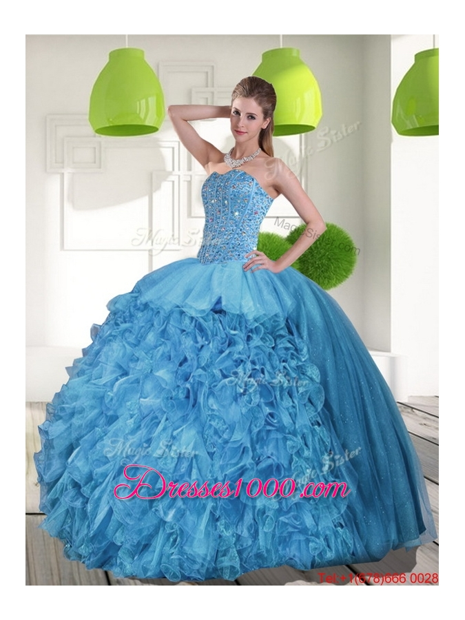 2015 Most Popular Sweetheart Quinceanera Dresses with Beading and Ruffles