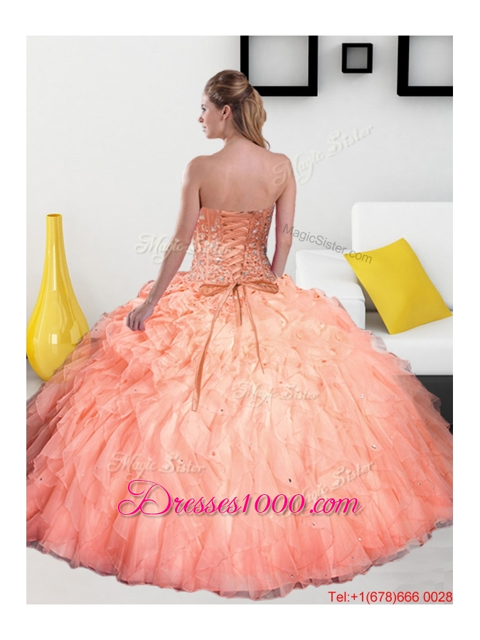 2015 Remarkable Beading and Ruffles Sweetheart Quinceanera Dresses