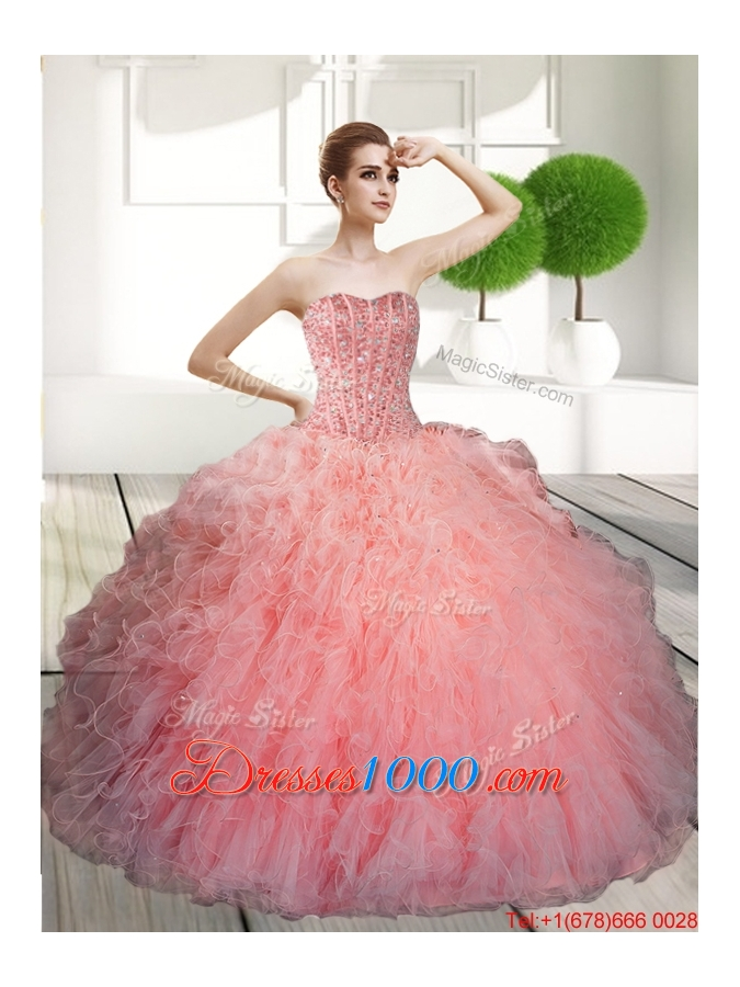 Designer Ball Gown Beading and Ruffles Quinceanera Dresses for 2015