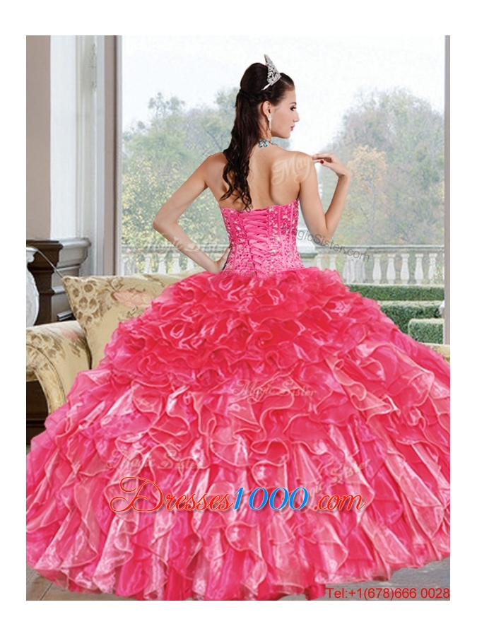 Designer Beading and Ruffles Sweetheart Quinceanera Dresses for 2015