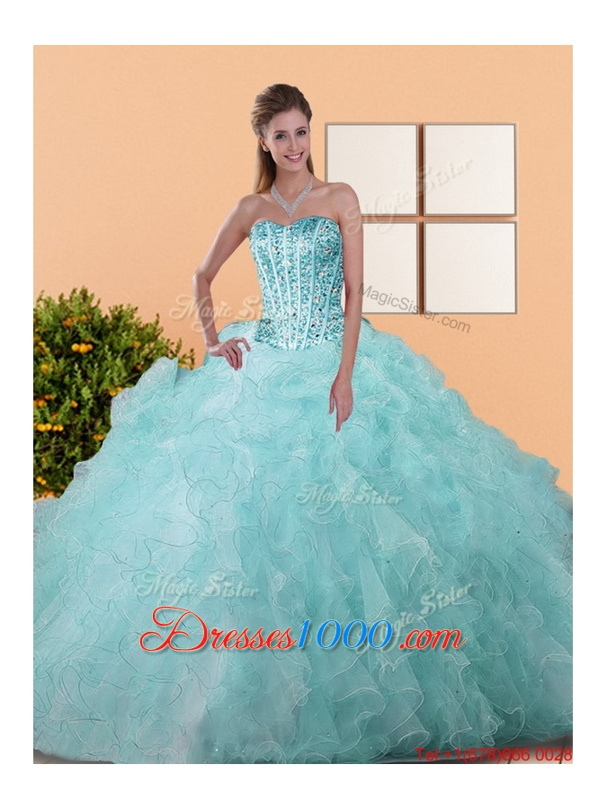 Elegant Beading and Ruffles Ball Gown Quinceanera Dresses for 2015