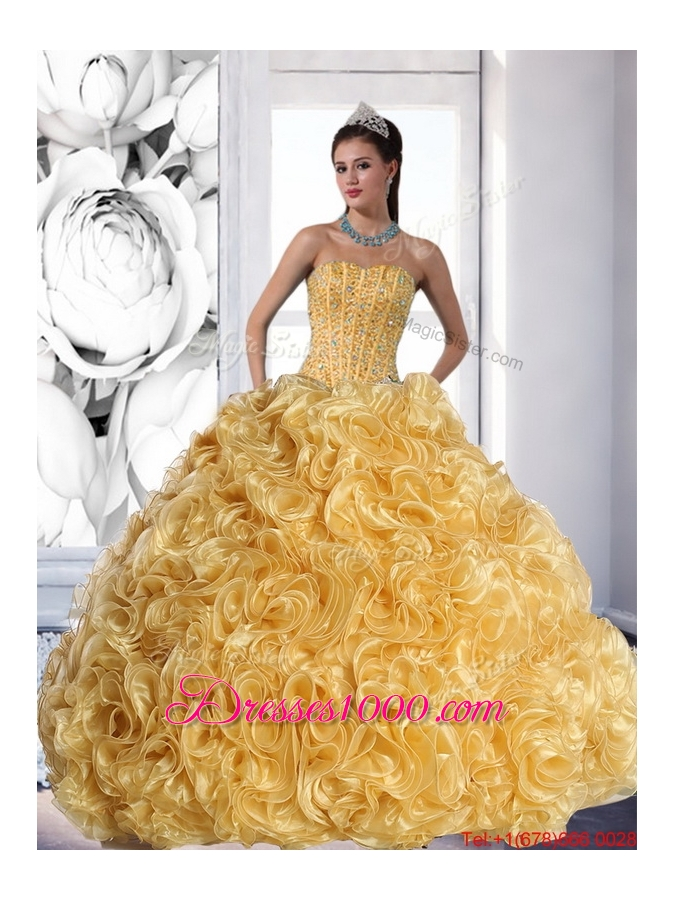 Fashionable Strapless Gold 2015 Quinceanera Dress with Beading and Rolling Flowers