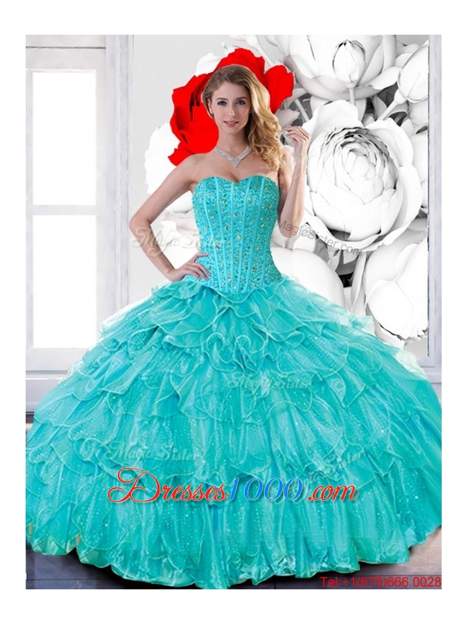 Most Popular Sweetheart 2015 Quinceanera Dresses with Beading and Ruffled Layers