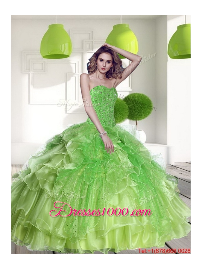 Remarkable Spring Green 2015 Quinceanera Dress with Beading and Ruffles
