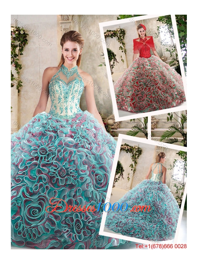 Hot Sale Appliques and Ruffles Sweet 16 Dresses with Halter Top