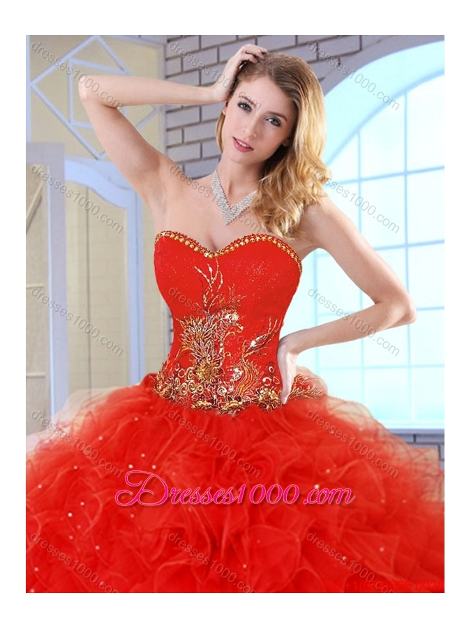 2015 Fall Beautiful Red Quinceanera Dresses with Appliques and Ruffles