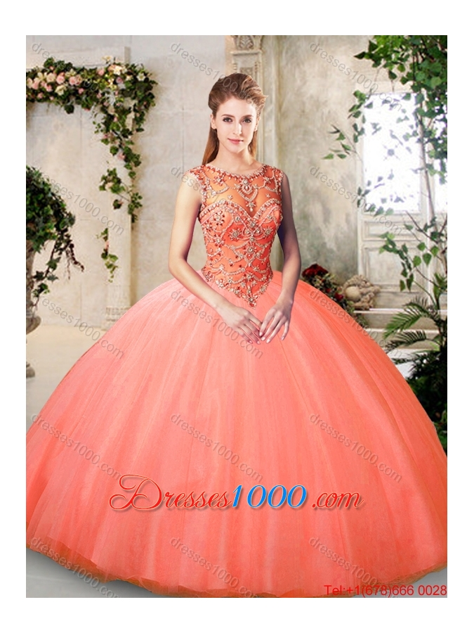 2016 Inexpensive Bateau and Beading Quinceanera Dresses