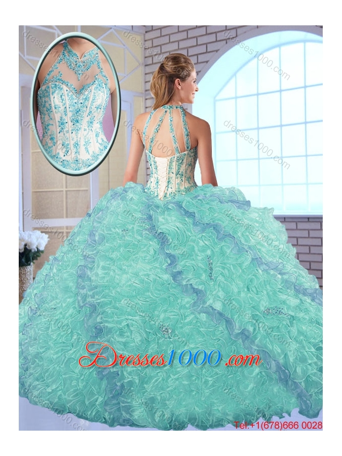 2016 Perfect High Neck Appliques Sweet 16 Dresses in Multi Color