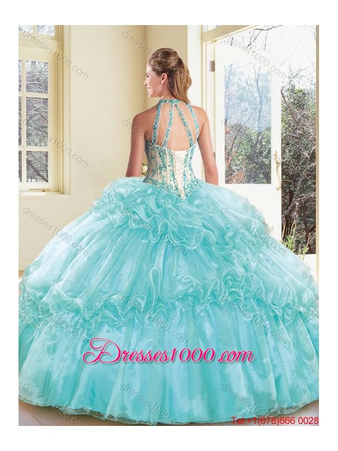 Elegant Halter Top Quinceanera Dresses with Appliques and Ruffles