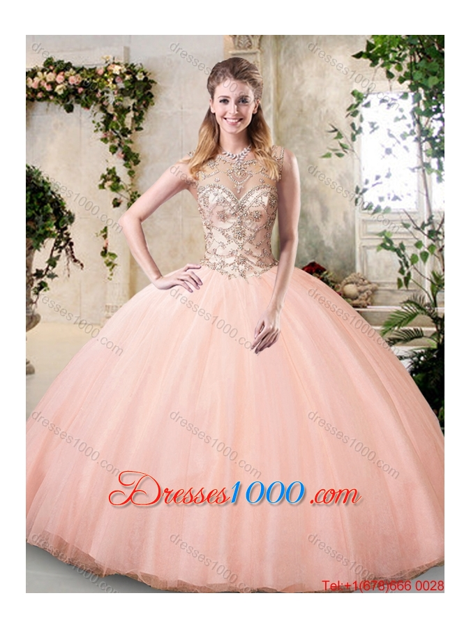 Modest Bateau Peach Quinceanera Dresses with Beading