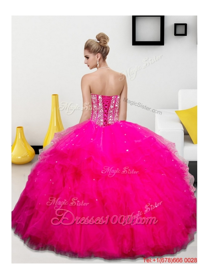2015 Spring Pretty Beading and Ruffles Sweetheart Quinceanera Dresses
