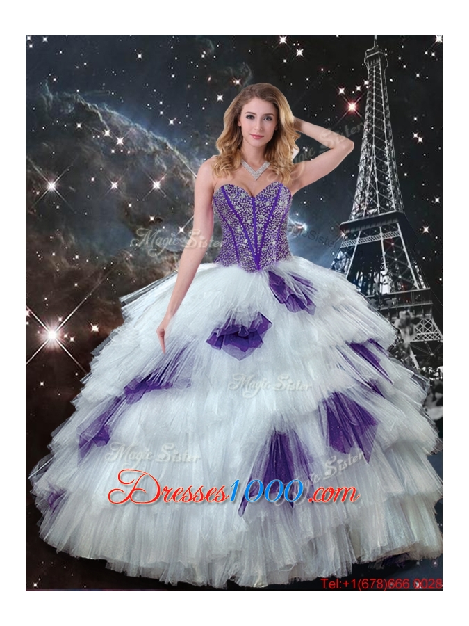 2015 Winter Perfect Sweetheart Beaded Quinceanera Dresses in White and Purple