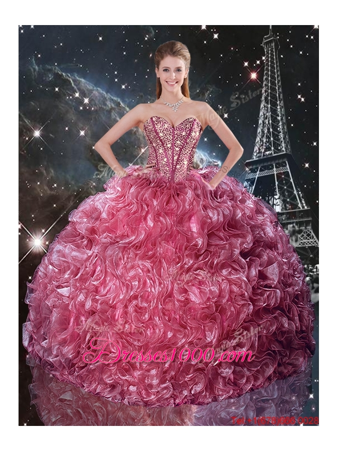 2016 Fall New Style Ball Gown Coral Red Quinceanera Dresses with Ruffles and Beading
