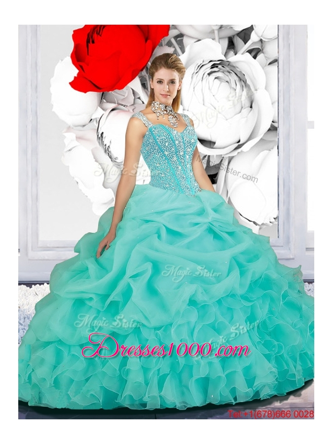 2016 Delicate Beaded Ball Gown Straps Sweet 16 Dresses in Turquoise