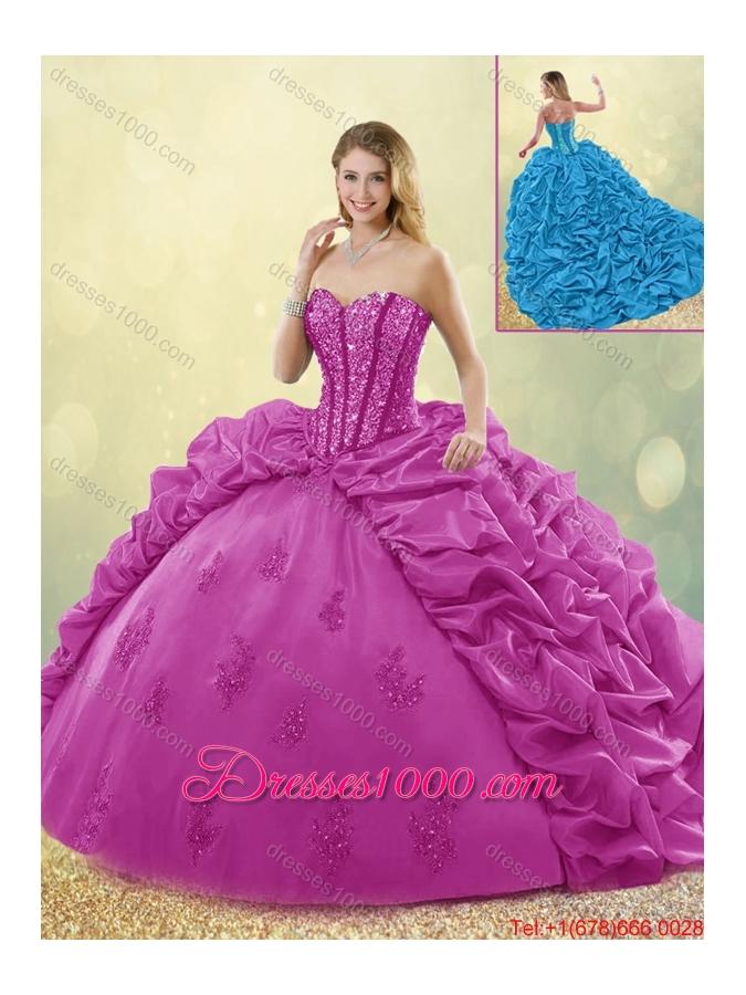 Best Selling Brush Train Beading Quinceanera Dresses in Fuchsia