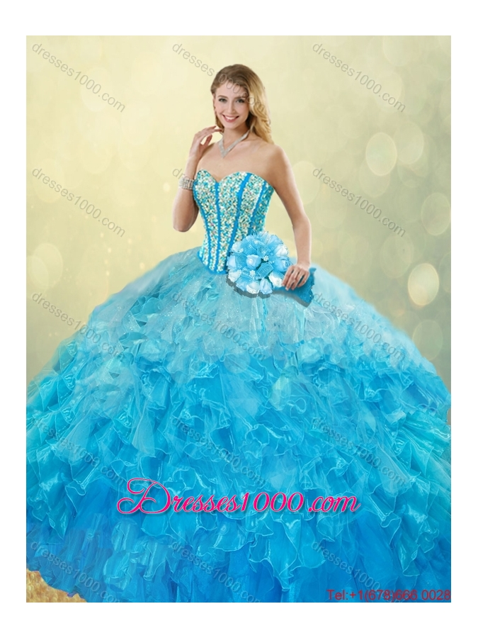 Elegant 2016 Beading and Ruffles Quinceanera Gowns with Sweetheart