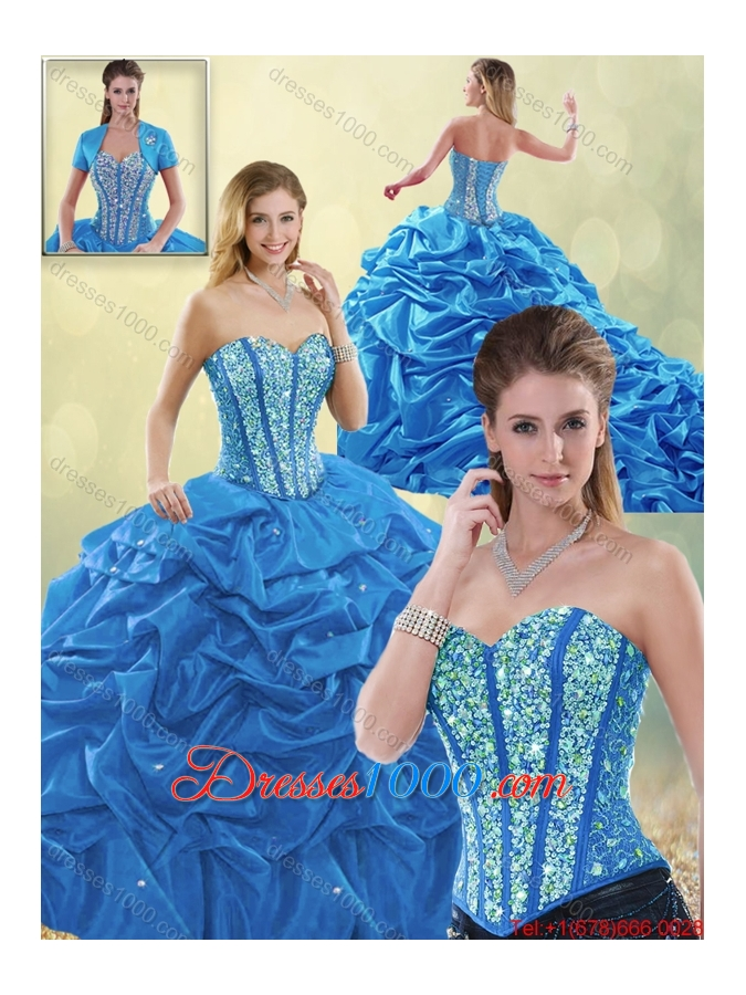 Luxurious Beading Blue Detachable Quinceanera Gowns with Sweetheart