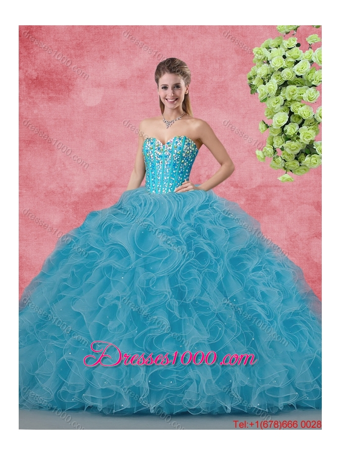 Wonderful Ball Gown Quinceanera Gowns with Beading and Ruffles