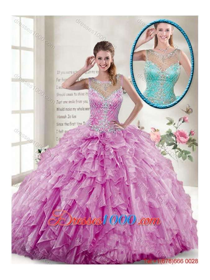 2016 New Style Ball Gown Beaded Sweet 16 Gowns in Lilac