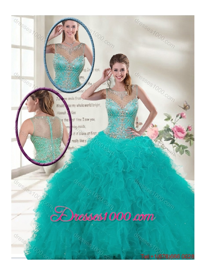 Elegant Scoop Quinceanera Dresses with Ruffles and Beading