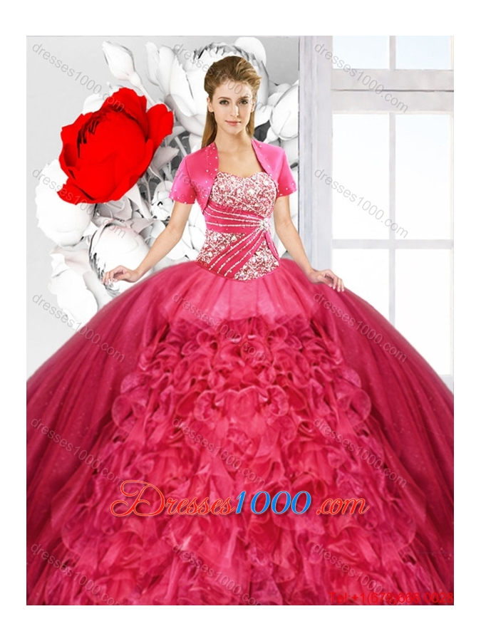 Red 2016 Fashionable Detachable Sweet 16 Dresses with Ruffles
