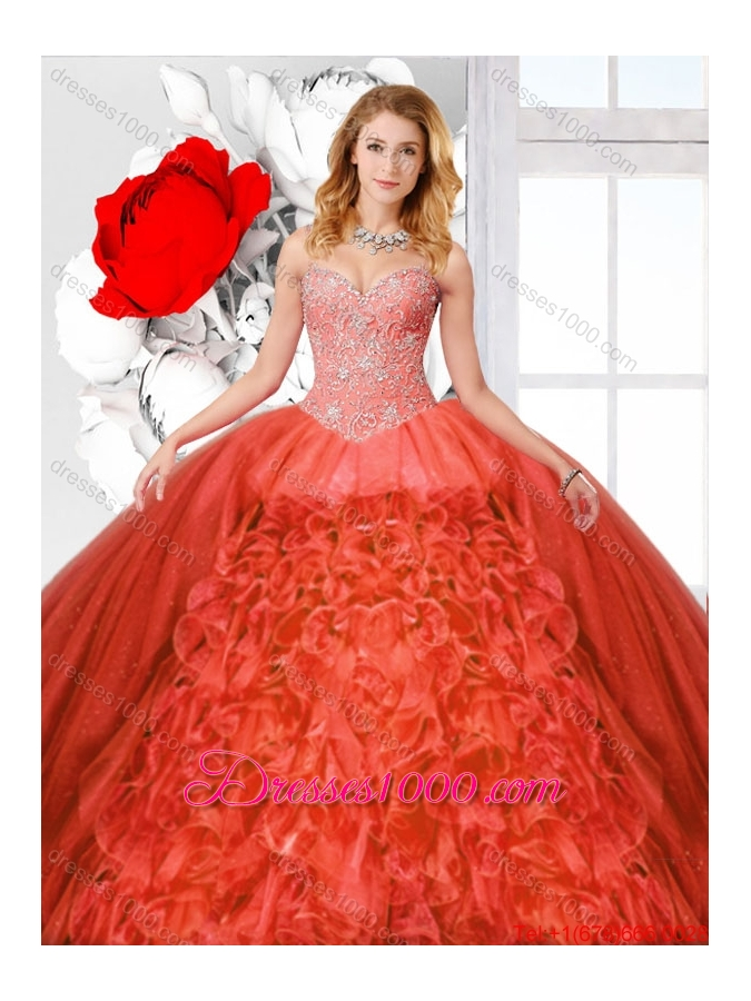 Straps and Ruffles Luxurious Quinceanera Dresses with Beading