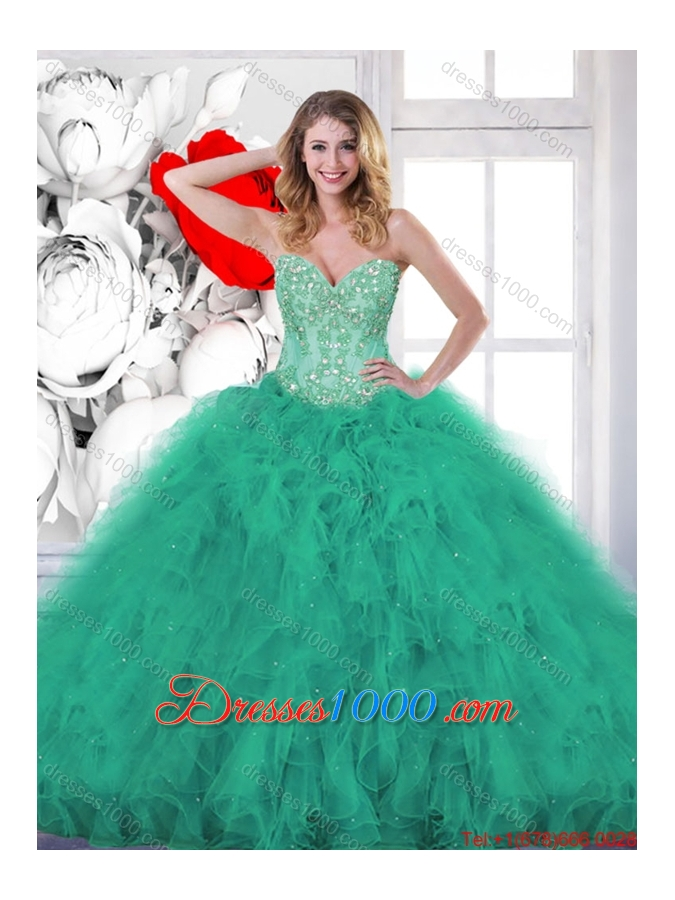 Fashionable Beading and Appliques Sweet 16 Gowns in Turquoise for 2016 Spring