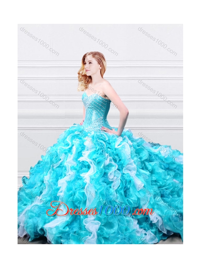 Designer Beadede and Ruffled Quinceanera Gown in Aqua Blue and White