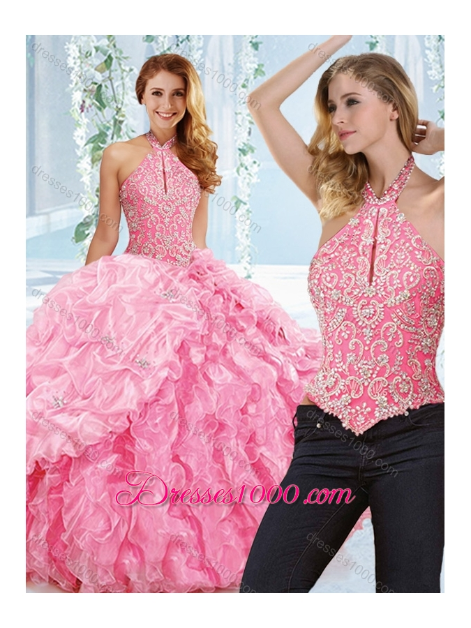 Cut Out Bust Beaded Bodice Detachable Quinceanera Dress with Halter Top