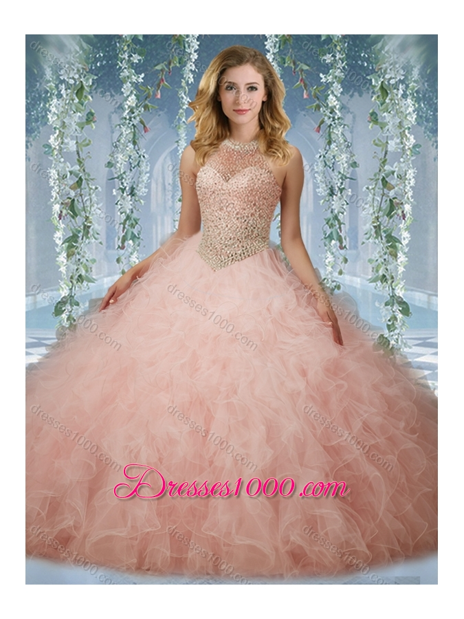 Elegant Beaded Bodice Baby Pink Quinceanera Dress with Halter Top