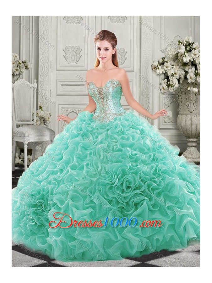 Popular Beaded and Ruffled Aqua Blue New Style Quinceanera Dresses