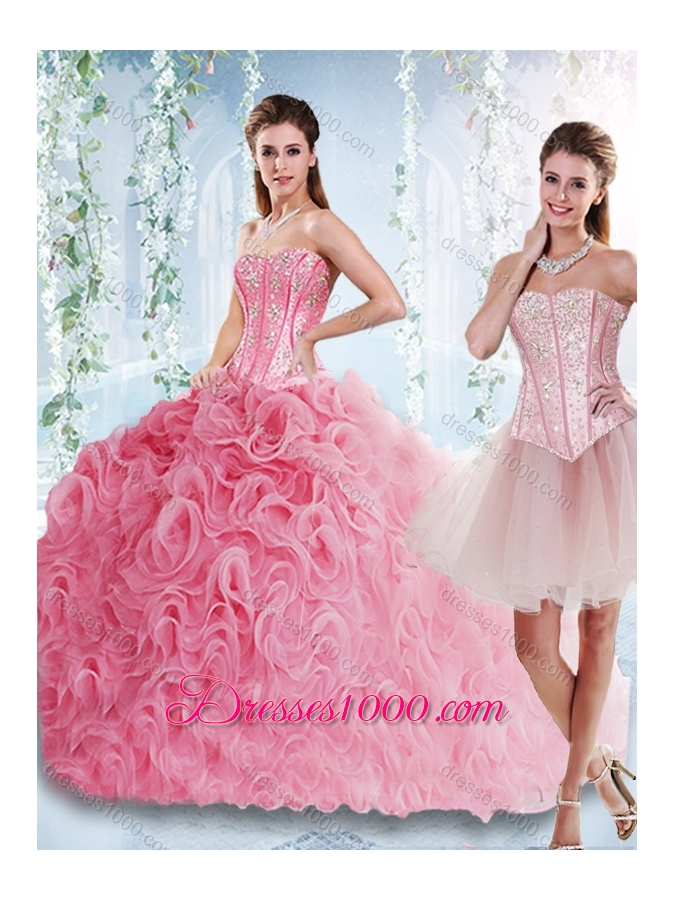 Visible Boning Rolling Flowers Elegant Quinceanera Dresses with Beaded Bodice