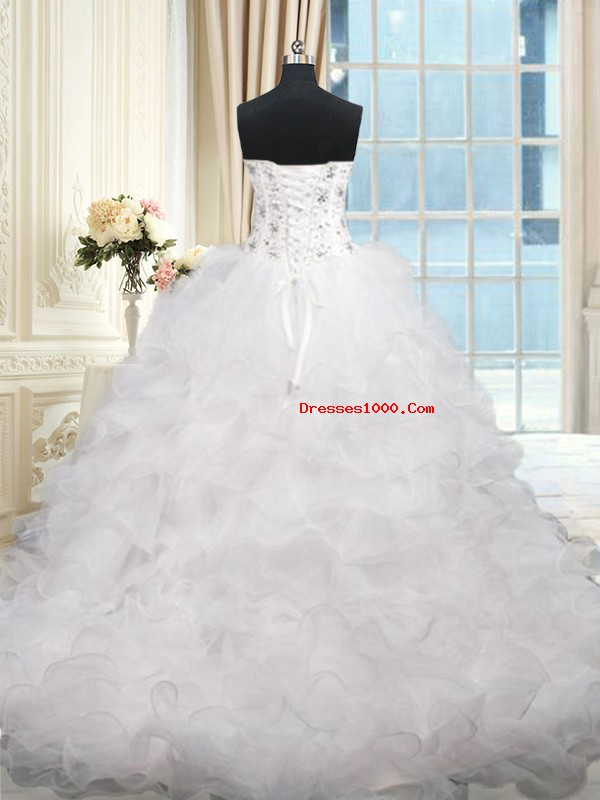 Nice White Ball Gowns Organza Sweetheart Sleeveless Beading and Ruffles Lace Up Quinceanera Dresses Brush Train