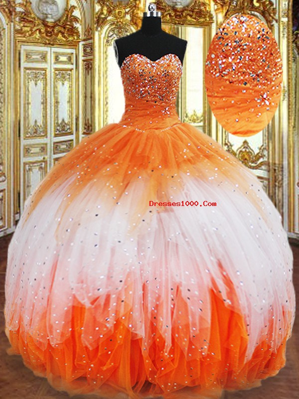 Most Popular Multi-color Sleeveless Floor Length Beading and Ruffles Lace Up 15th Birthday Dress