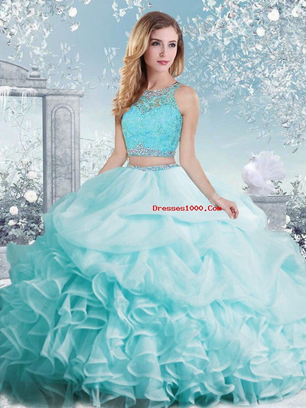 Aqua Blue Organza Clasp Handle Scoop Sleeveless Floor Length Quinceanera Gowns Beading and Ruffles and Pick Ups
