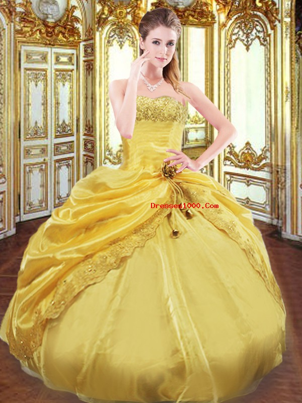 Lovely Gold Ball Gowns Strapless Sleeveless Taffeta Floor Length Lace Up Beading and Pick Ups 15 Quinceanera Dress