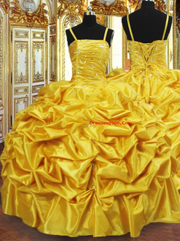 Gold Lace Up Spaghetti Straps Beading and Pick Ups Quinceanera Dresses Taffeta Sleeveless