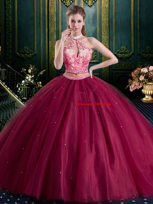 Custom Made Halter Top High-neck Sleeveless Tulle Quince Ball Gowns Beading and Lace and Appliques Lace Up