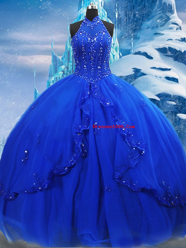 Free and Easy High-neck Sleeveless Tulle Ball Gown Prom Dress Beading and Ruffles Brush Train Lace Up