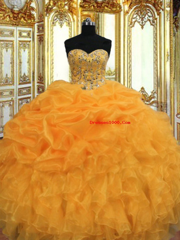Unique Floor Length Lace Up Quinceanera Dress Orange for Military Ball and Sweet 16 and Quinceanera with Beading and Ruffles
