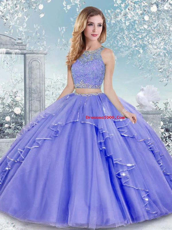 Shining Scoop Sleeveless Tulle Vestidos de Quinceanera Beading and Lace Clasp Handle