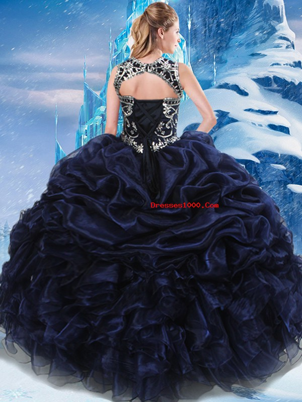 Navy Blue Lace Up High-neck Appliques and Ruffles and Pick Ups Sweet 16 Dress Taffeta Sleeveless