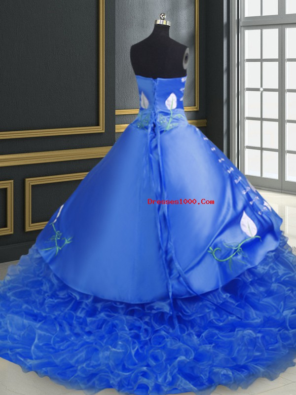 Blue Lace Up Ball Gown Prom Dress Embroidery and Ruffles Sleeveless Brush Train