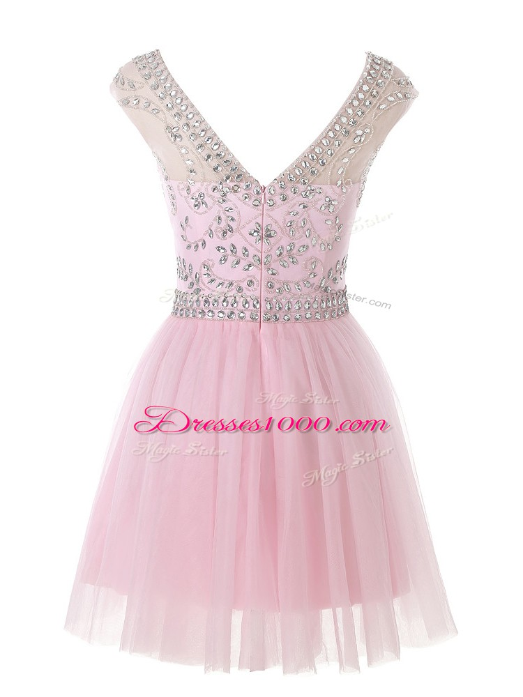Baby Pink Tulle Zipper Scoop Sleeveless Mini Length Prom Dress Beading