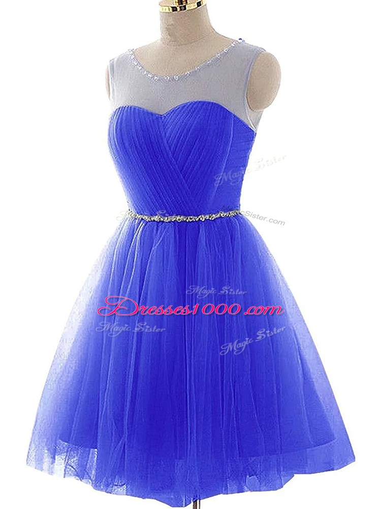 Scoop Sleeveless Tulle Prom Evening Gown Beading and Ruching Lace Up