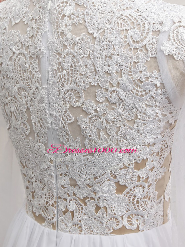 Fabulous White Empire Chiffon V-neck Long Sleeves Lace and Appliques Floor Length Zipper Prom Dress